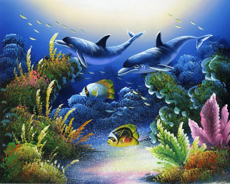 装饰画/无框画/家饰/工艺品/礼品/饰品 - 360购物; 油画-海底世界四