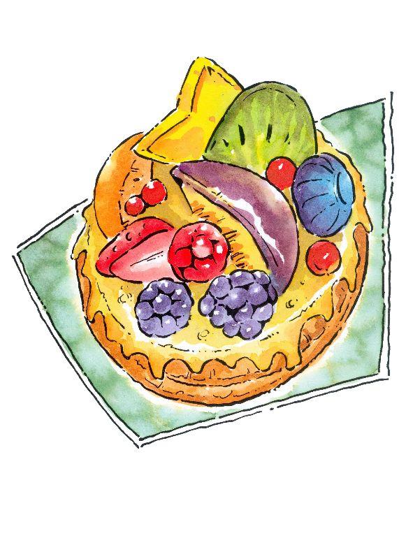 水果拼盘手绘插画