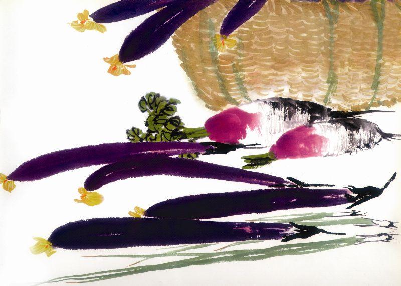 国画-茄子装饰画 植物