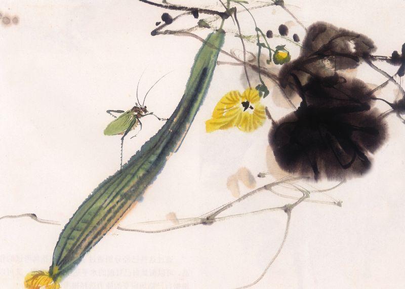 国画-黄瓜装饰画 植物